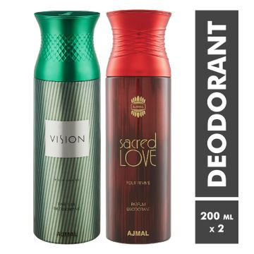 Ajmal | Vision Homme and Sacred Love Deodorant Spray - Pack of 2