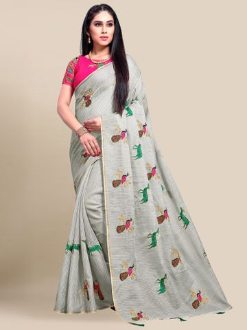 SATIMA | Women's Grey Embroidery Cotton Linen Solid Saree