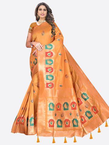 Glemora | Glemora Saree for Women Banarasi Silk With Blouse, Women Silk Sarees ( Orange )