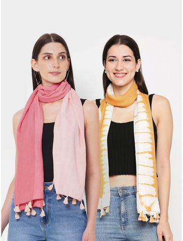 Get Wrapped | Get Wrapped Tie-Dye & a Ombre Scarves Combo for Women - Combo Pack of 2