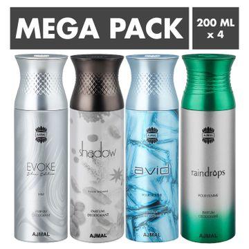 Ajmal | Ajmal EvokeSilver Edition Homme & Shadow Homme & Avid & Raindrops Deodorant Spray- For Men (200 ml, Pack of 4)