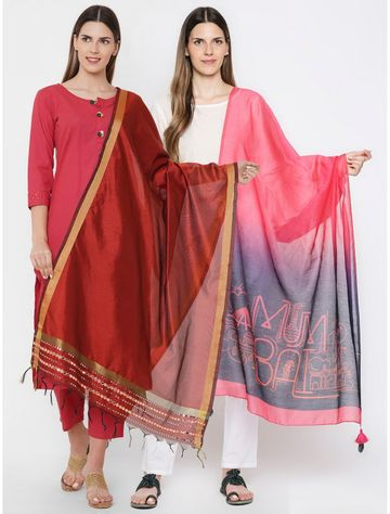 Get Wrapped   Get Wrapped Gold Border & a Digital Printed Dupattas Combo for Women - Combo Pack of 2