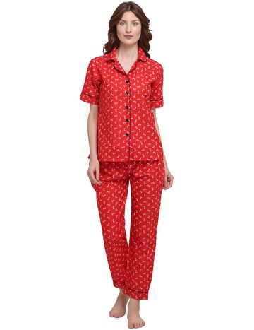 Smarty Pants | Cotton quircky cycle print red color night suit
