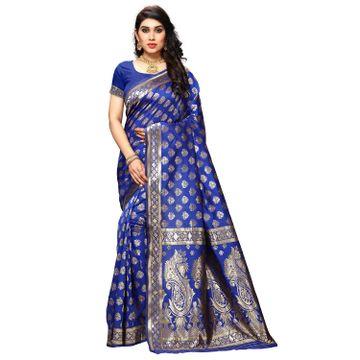 POONAM TEXTILE | Women's Art Silk Blue Woven Saree