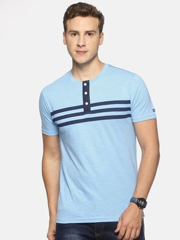 Steenbok | Men's Blue Striped Henley Neck T-Shirt
