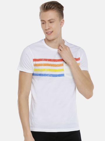 Steenbok | Steenbok Men's White Printed Crew Neck T-Shirt