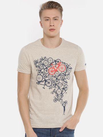 Steenbok | Steenbok Men's Sand Heather Printed Crew Neck T-Shirt