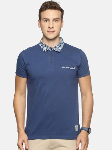Steenbok | Men's Navy Collar Printed Polo Neck T-Shirt