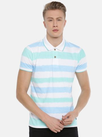 Steenbok | Steenbok Men's Multicolor Striped Polo Neck T-Shirt