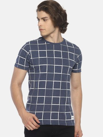 Steenbok | Men's Checked Navy Crew Neck T-Shirt