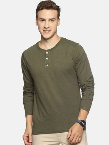 Steenbok | Steenbok Men's Green Heather Henley Full Sleeve T-Shirt