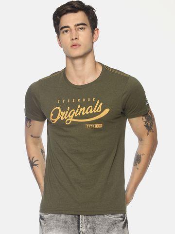 Steenbok   Men's Green Printed Crew Neck T-Shirt