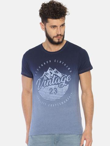 Steenbok | Steenbok Men's Navy Dip Dye Printed Crew Neck T-Shirt