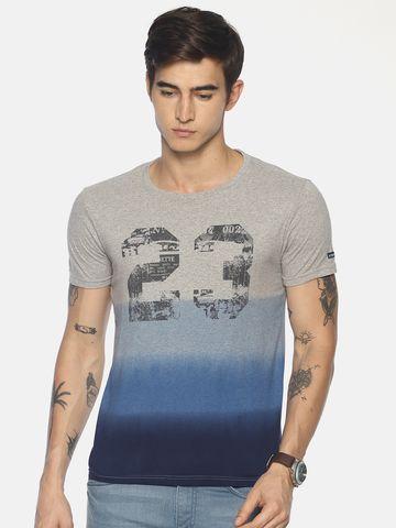 Steenbok | Men's Blue Dip Dyed Crew Neck T-Shirt