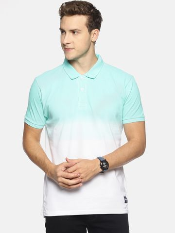 Steenbok | Steenbok Men's Turquoise Dip Dye Polo T-Shirt