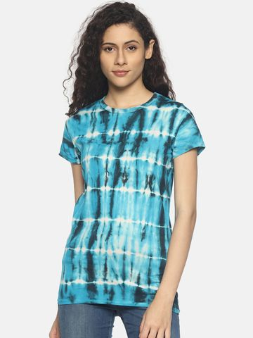 Steenbok | Women's Blue Tie & Dye Crew Neck T-Shirt