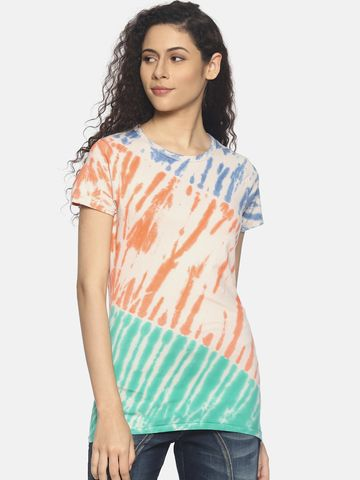 Steenbok | Women's Multicolor Tie & Dye Crew Neck T-Shirt