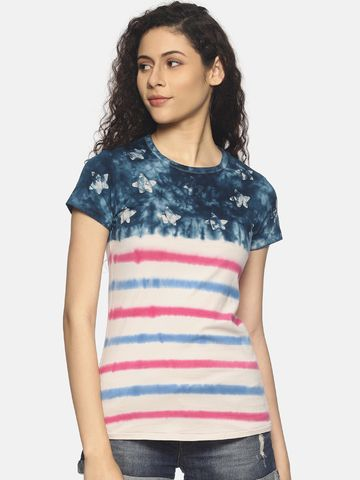 Steenbok | Women's Navy Floral Dip Dye Crew Neck T-Shirt