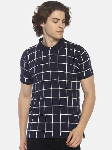 Steenbok | Men's Checked Navy Polo T-Shirt