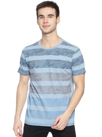 Steenbok | Steenbok Mens Blue Striped Crew Neck T-Shirt