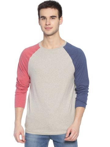 Steenbok | Steenbok Mens Grey Raglan Full Sleeve Crew Neck T-Shirt
