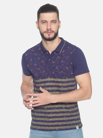 Steenbok | Men's Flower/stripe printed polo t-shirt