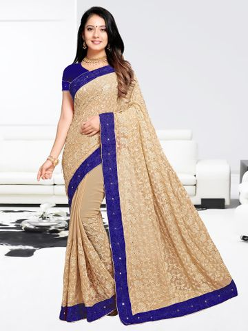 SATIMA | Designer Blue Georgette Woven Saree