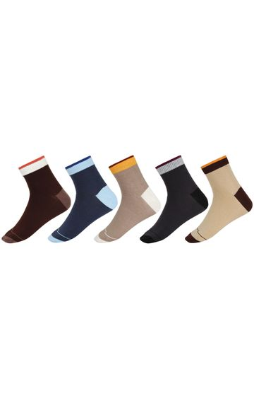 SIDEWOK   SIDEWOK Ankle Length Solid Multicolour Cotton Socks for Men (Pack of 5 Pairs)