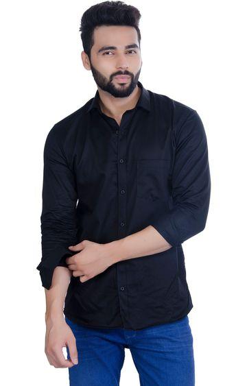 5th Anfold | FIFTH ANFOLD Men's Black Casual Slim Collar Full/Long Sleev Slim Fit Shirt