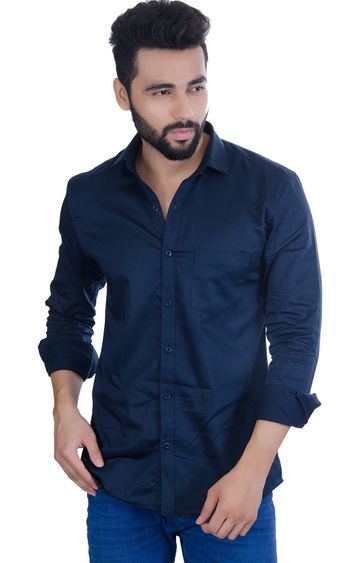 5th Anfold   FIFTH ANFOLD Men's Dark Blue Casual Slim Collar Full/Long Sleev Slim Fit Shirt