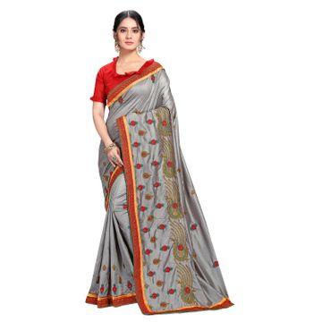 SATIMA | Designer Grey Silk Blend Leheriya Embroidered Saree