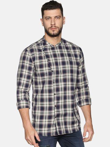 Showoff | SHOWOFF Men's Cotton Casual BeigeNavy Checks Slim Fit Shirt