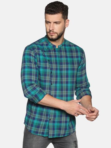 Showoff | SHOWOFF Men's Cotton Casual Green Printed Slim Fit Shirt