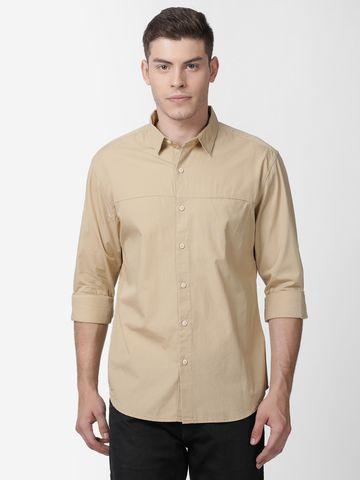 Mucho Solo   Mucho Solo Men's Casual Solid Shirt, Khaki
