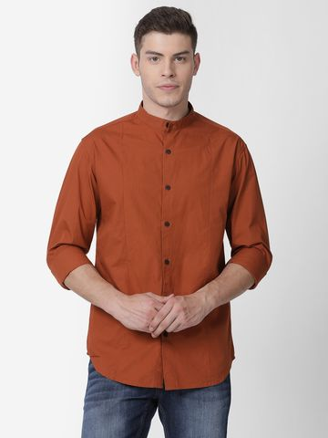 Mucho Solo   Mucho Solo Men's Casual Solid Shirt, Brown