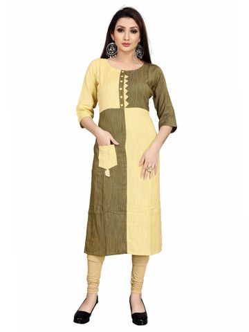 SATIMA | Stunning Yellow Green Colorblock Casual Printed Rayon Kurti