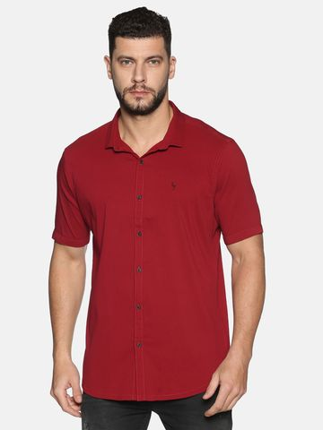 Showoff | SHOWOFF Men's Cotton Casual Red Solid Slim Fit Shirt