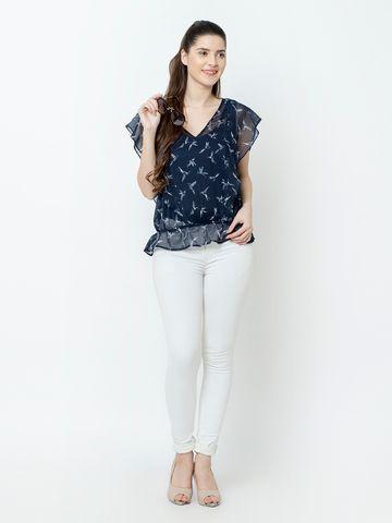 SQew   SQew Women Polyester Blue Tops