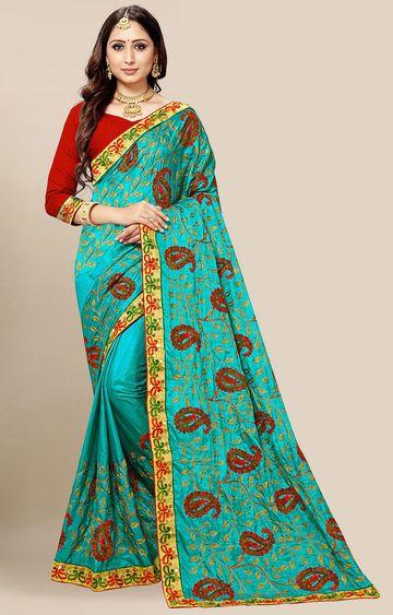 SATIMA | Turquoise Embroidered Silk Blend Saree