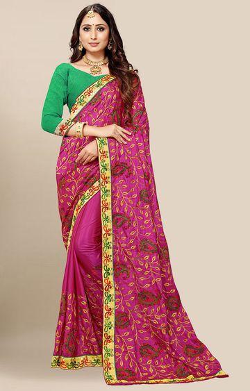 SATIMA | Pink Embroidered Silk Blend Saree