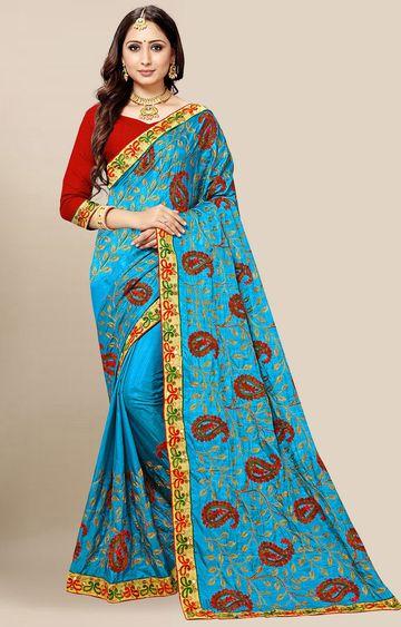 SATIMA | Light Blue Embroidered Silk Blend Saree