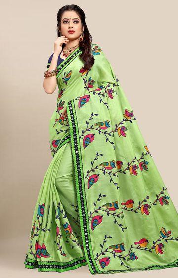 SATIMA | Latest Green Colour Embroidered Cotton Blend Saree
