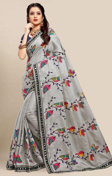 SATIMA | Latest Grey Colour Embroidered Cotton Blend Saree