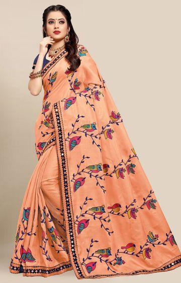 SATIMA | Latest Orange Colour Embroidered Cotton Blend Saree