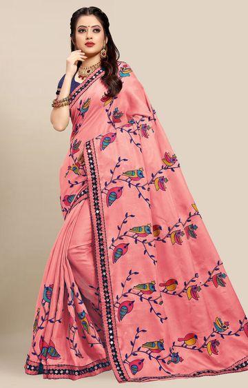 SATIMA | Latest Pink Colour Embroidered Cotton Blend Saree
