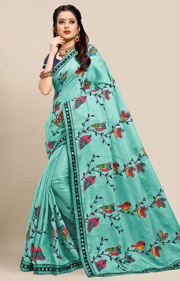 SATIMA | Latest Light Blue Colour Embroidered Cotton Blend Saree