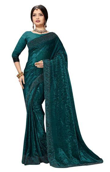 SATIMA   Fancy Ethnic Wear Turquoise Brasso Saree