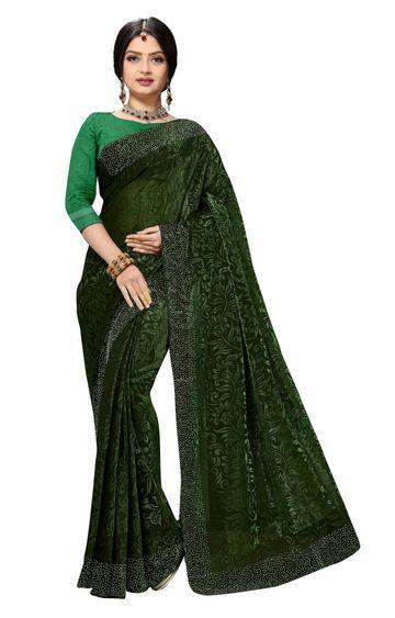 SATIMA   Fancy Ethnic Wear Green Brasso Saree