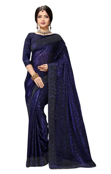 SATIMA | Fancy Ethnic Wear Blue Brasso Saree