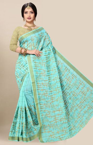 SATIMA | Latest Blue Embroidered Solid Cotton Blend Saree